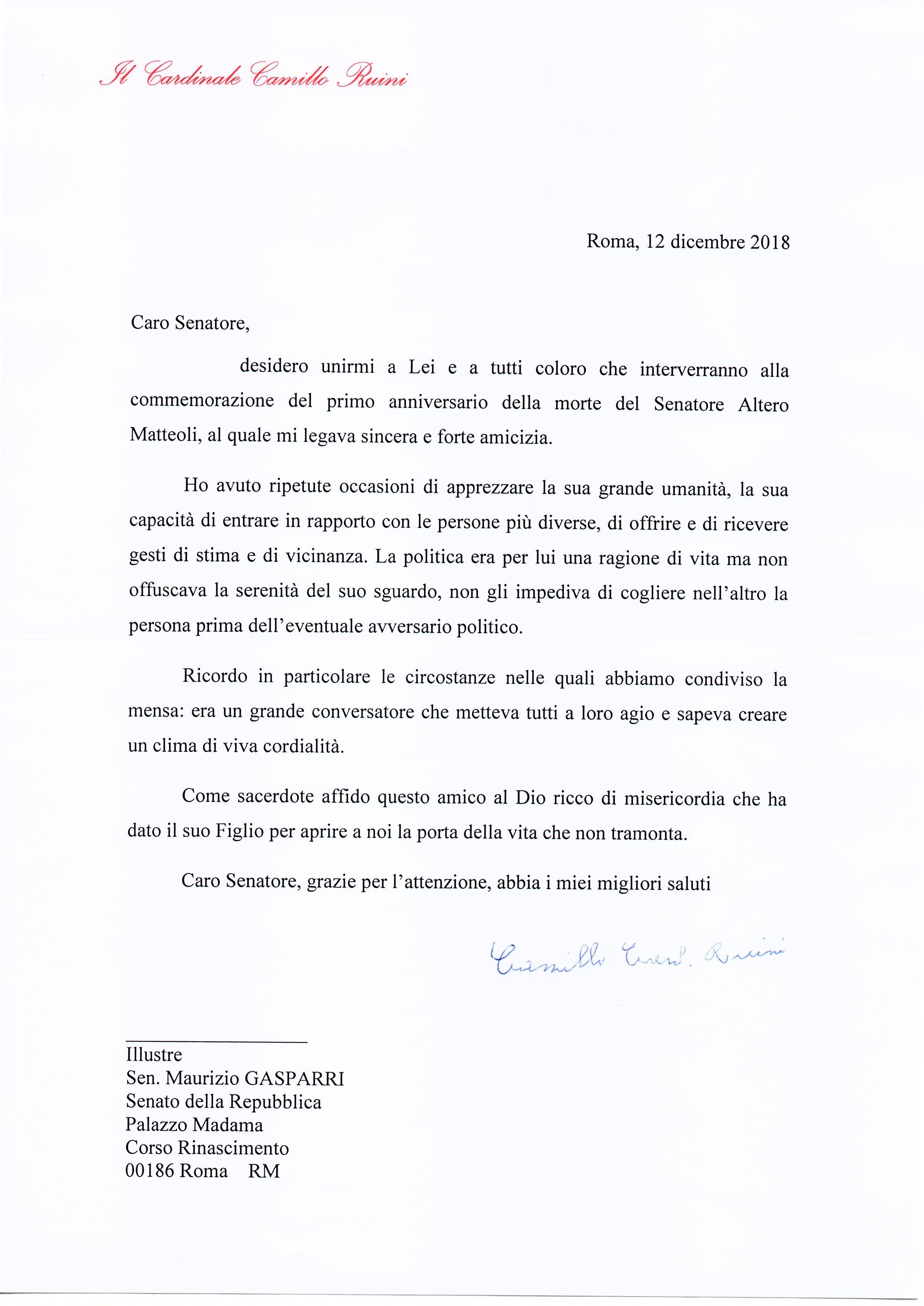 La Lettera Del Se Card Camillo Ruini Per Ricordare Lamicizia Col